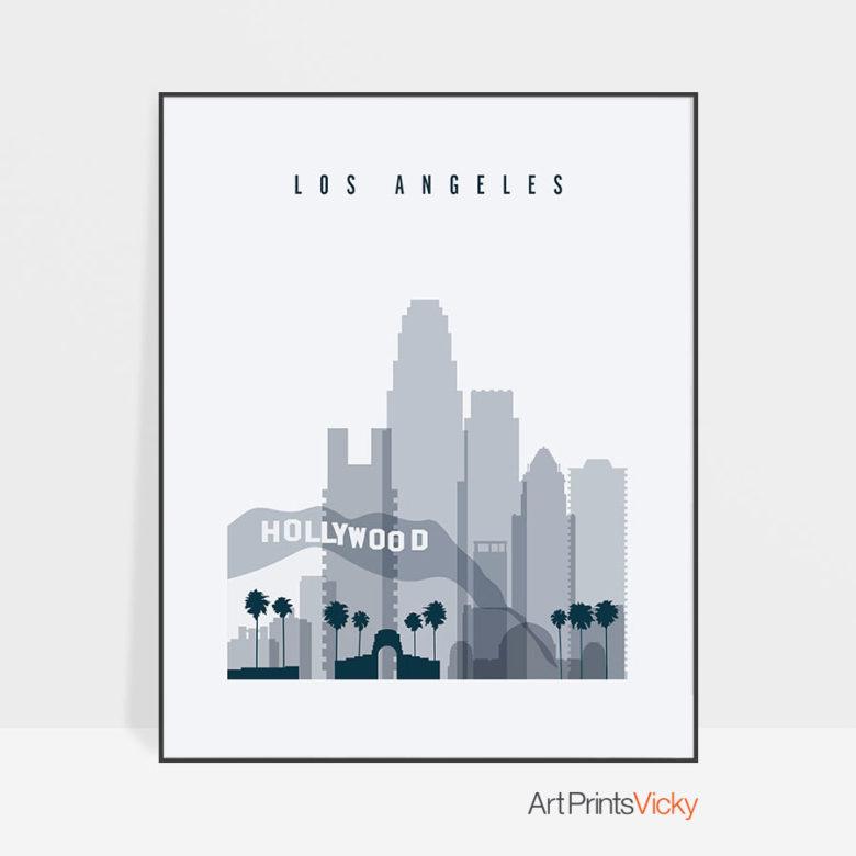 Los Angeles skyline poster grey blue
