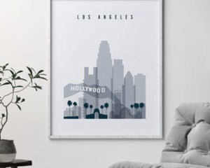 Los Angeles skyline poster grey blue second