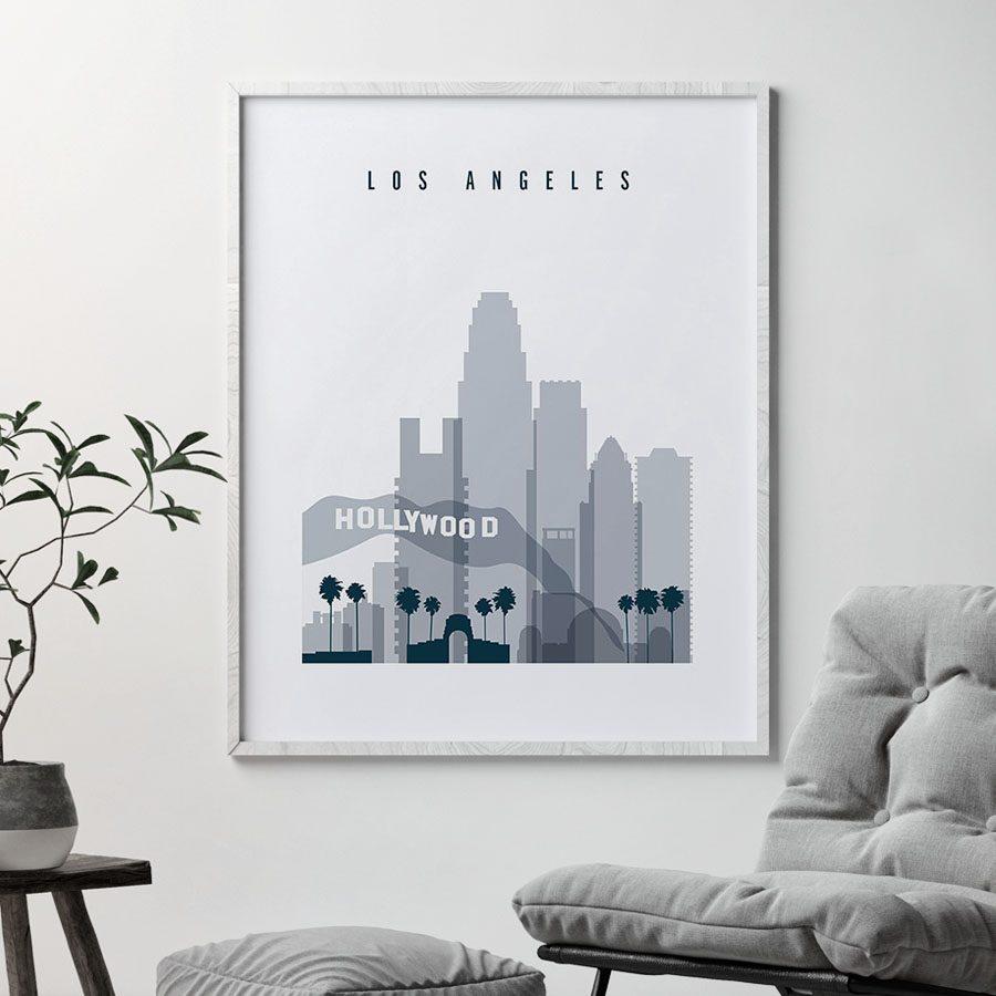 Los Angeles skyline poster grey blue second