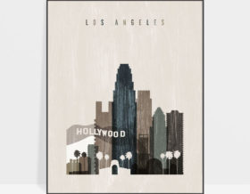 Los Angeles skyline print distressed 2