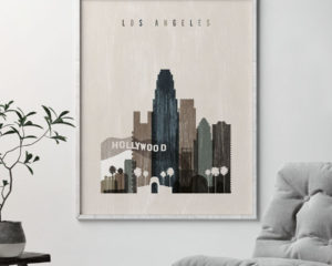 Los Angeles skyline print distressed 2 second