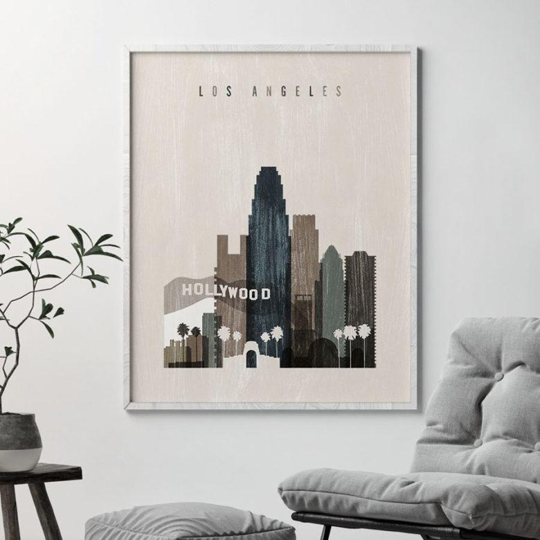 Los Angeles skyline print distressed 2 second