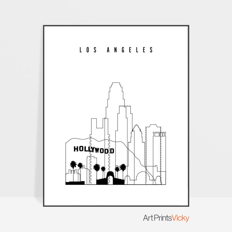 Los Angeles black and white skyline poster