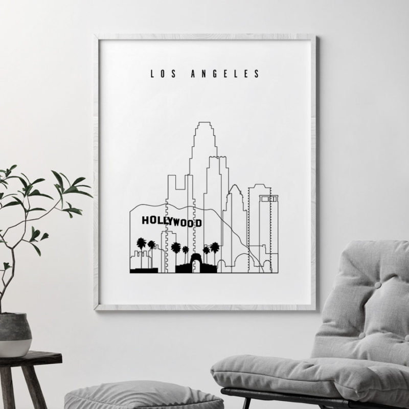 Los Angeles black and white skyline poster second