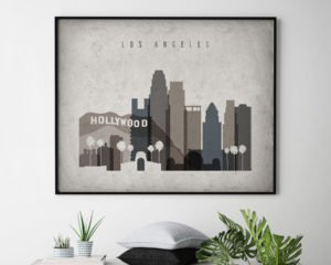 Los Angeles art print landscape retro second
