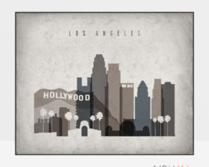 Los Angeles art print landscape retro