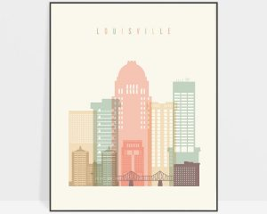 Louisville art print skyline pastel cream
