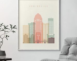 Louisville art print skyline pastel cream second