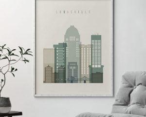 Louisville print skyline earth tones 1 second