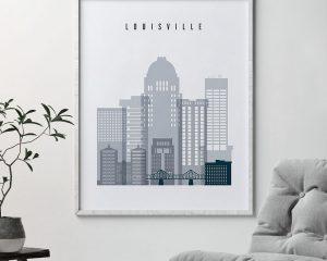 Louisville skyline poster grey blue second