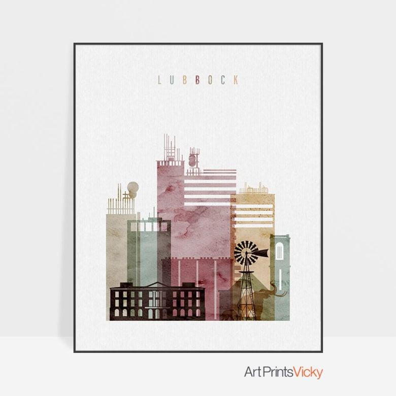 Lubbock skyline print watercolor 1