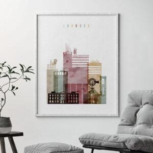 Lubbock skyline print watercolor 1 second