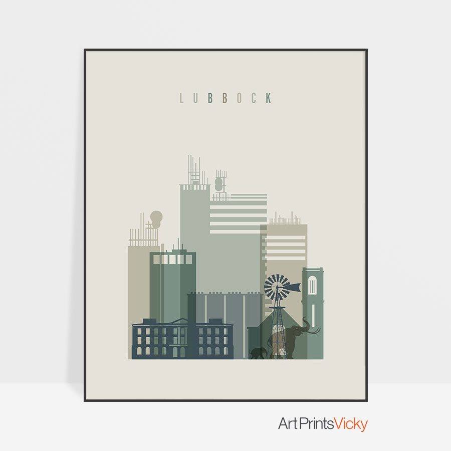 Lubbock print skyline earth tones 1