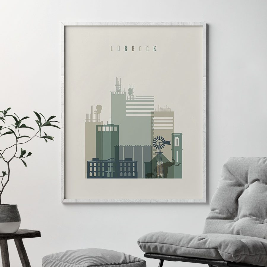 Lubbock print skyline earth tones 1 second