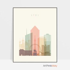 Lyon art print skyline pastel cream
