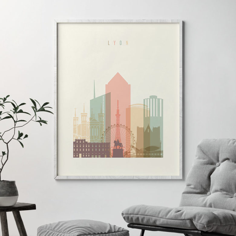 Lyon art print skyline pastel cream second