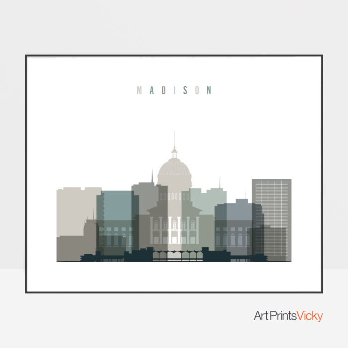 Madison skyline print landscape earth tones 4