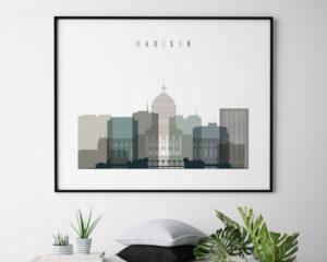 Madison skyline print landscape earth tones 4 second