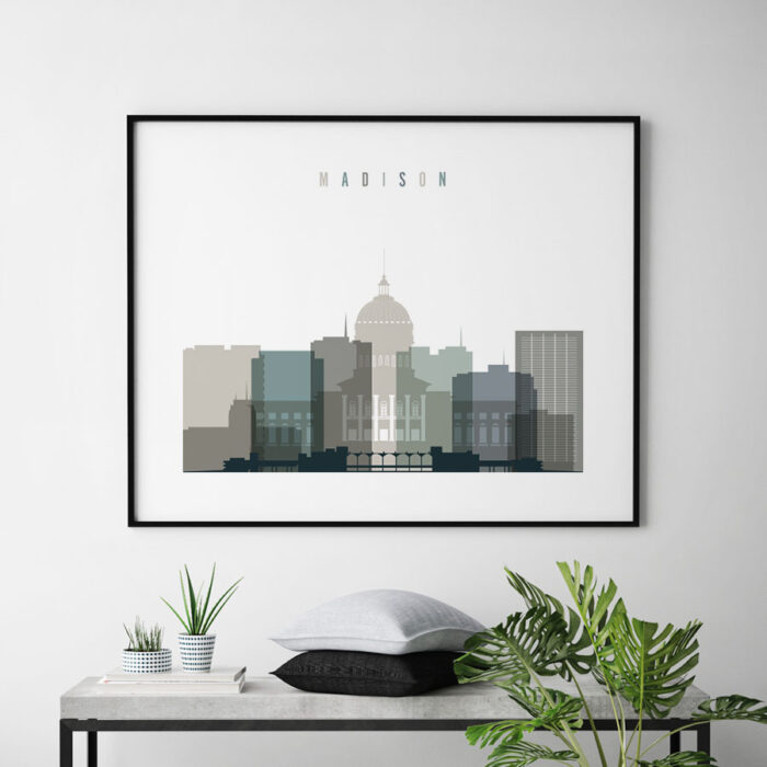 Madison skyline print landscape earth tones 4 second