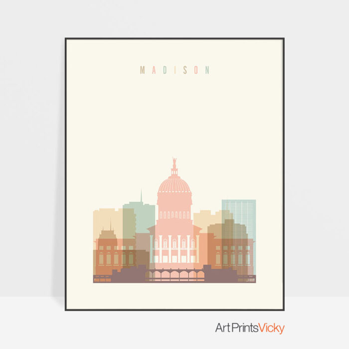 Madison art print skyline pastel cream