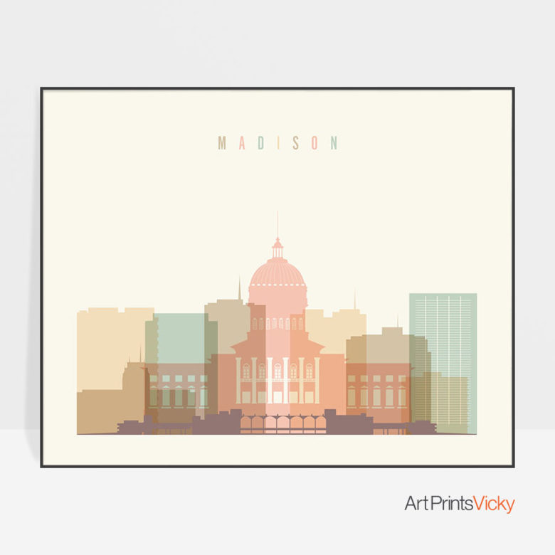 Madison skyline print pastel cream landscape