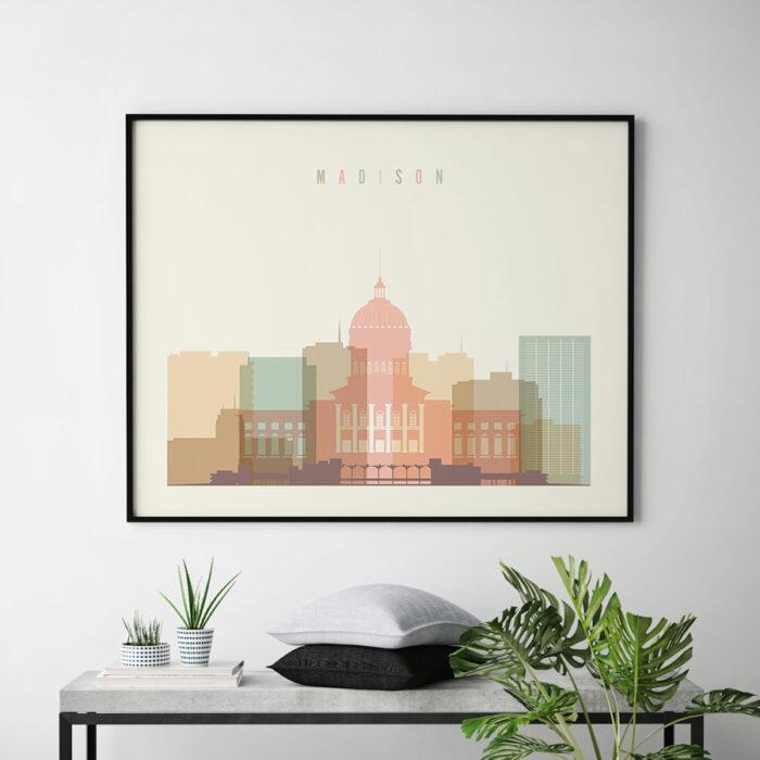 Madison skyline print pastel cream landscape second