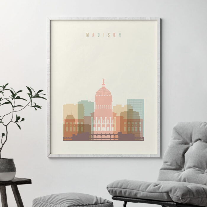 Madison art print skyline pastel cream second