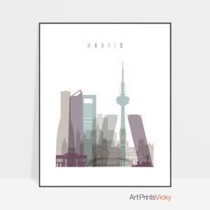 Madrid print skyline pastel 2