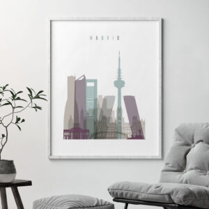 Madrid print skyline pastel 2 second