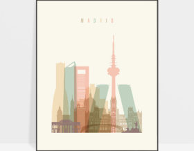 Madrid art print skyline pastel cream