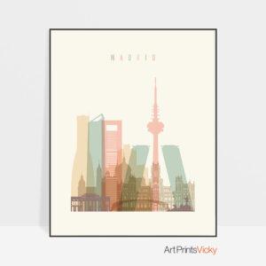 Madrid art print skyline pastel cream