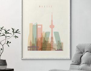 Madrid art print skyline pastel cream second