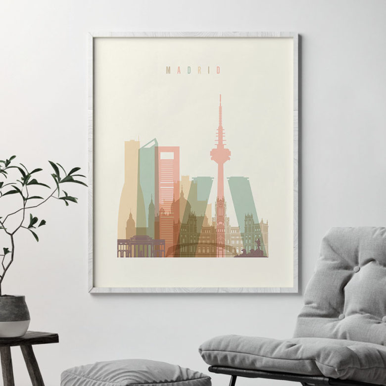 Madrid art print skyline pastel cream second