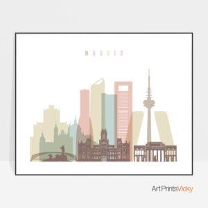 Madrid skyline art pastel white landscape