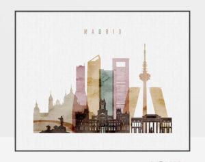 Madrid city skyline watercolor 1 landscape