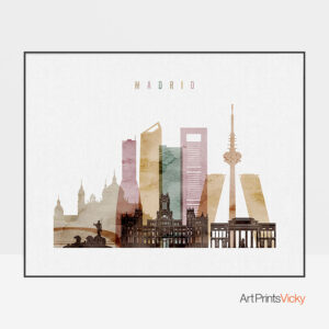 Madrid city skyline watercolor 1 landscape