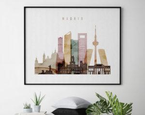 Madrid city skyline watercolor 1 landscape second