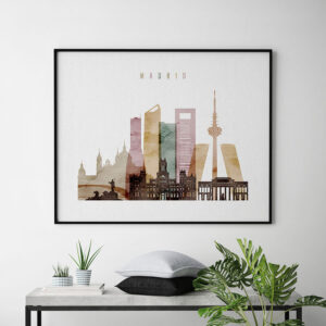 Madrid city skyline watercolor 1 landscape second