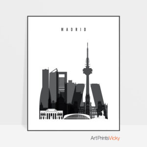 Madrid skyline black and white poster