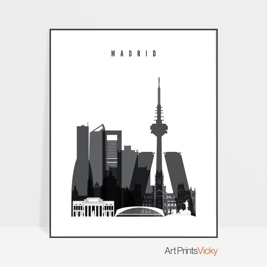 Madrid skyline black and white poster