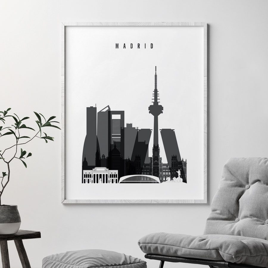 Madrid skyline black and white poster second