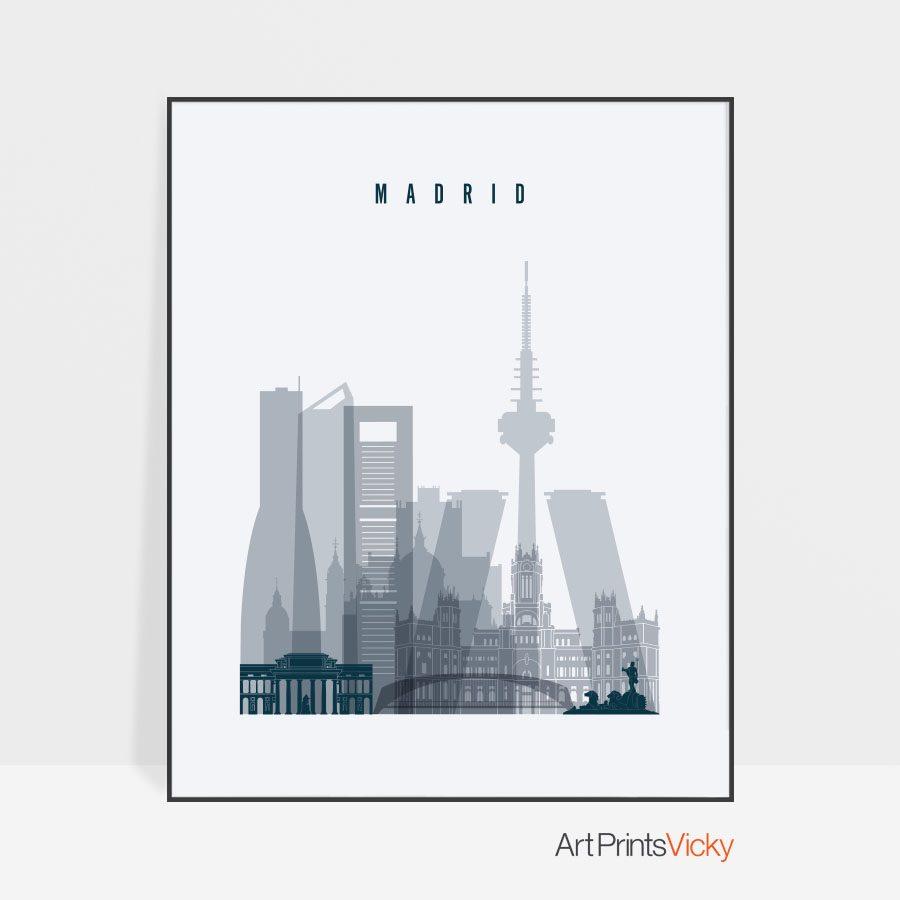 Madrid skyline poster grey blue