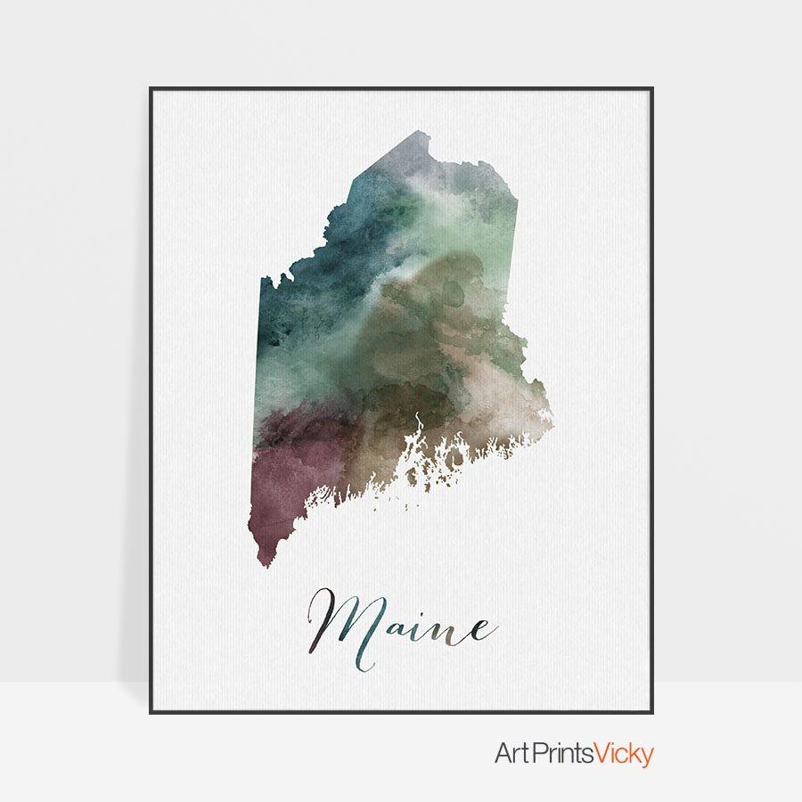 Maine State map print