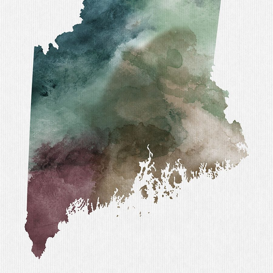 Maine State map print detail