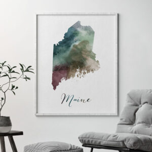 Maine State map print second