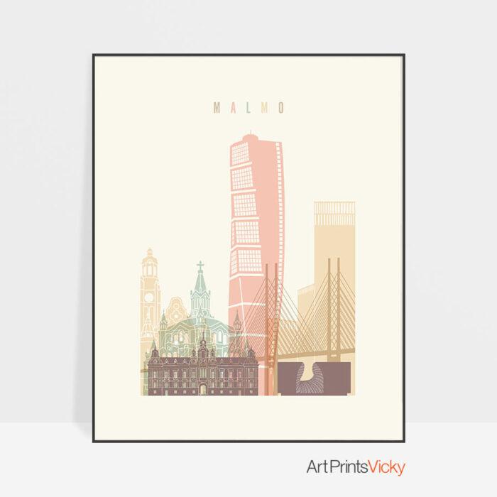 Malmo art print skyline pastel cream