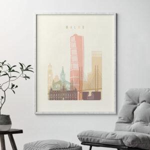 Malmo art print skyline pastel cream second