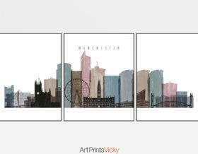 Manchester set of 3 prints skyline distressed 1