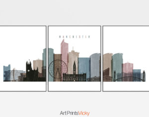 Manchester set of 3 prints skyline distressed 1