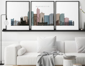 Manchester set of 3 prints skyline distressed 1 second